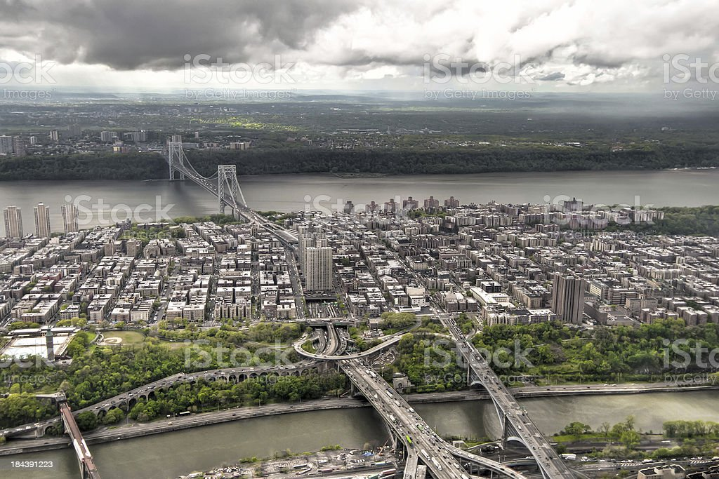 Manhattan bay from a helicopter, New York, USA. stock photo