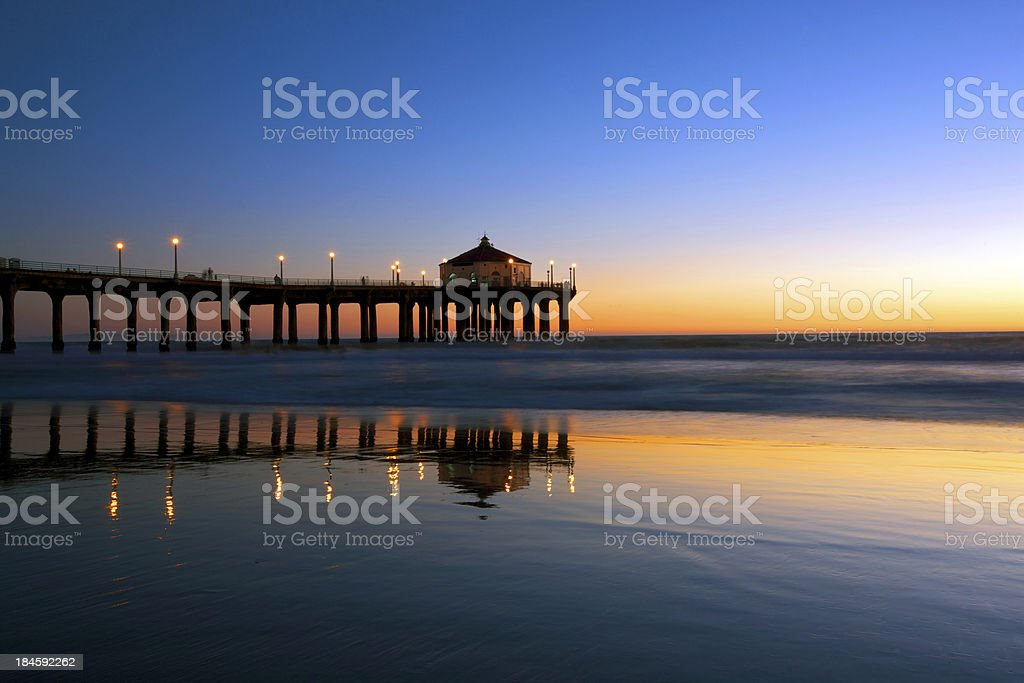 Manhattan Beach Pier in nighfall royalty-free stock photo