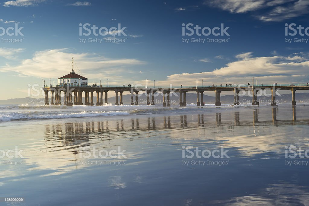 Manhattan Beach Pier Low Tide Reflections stock photo