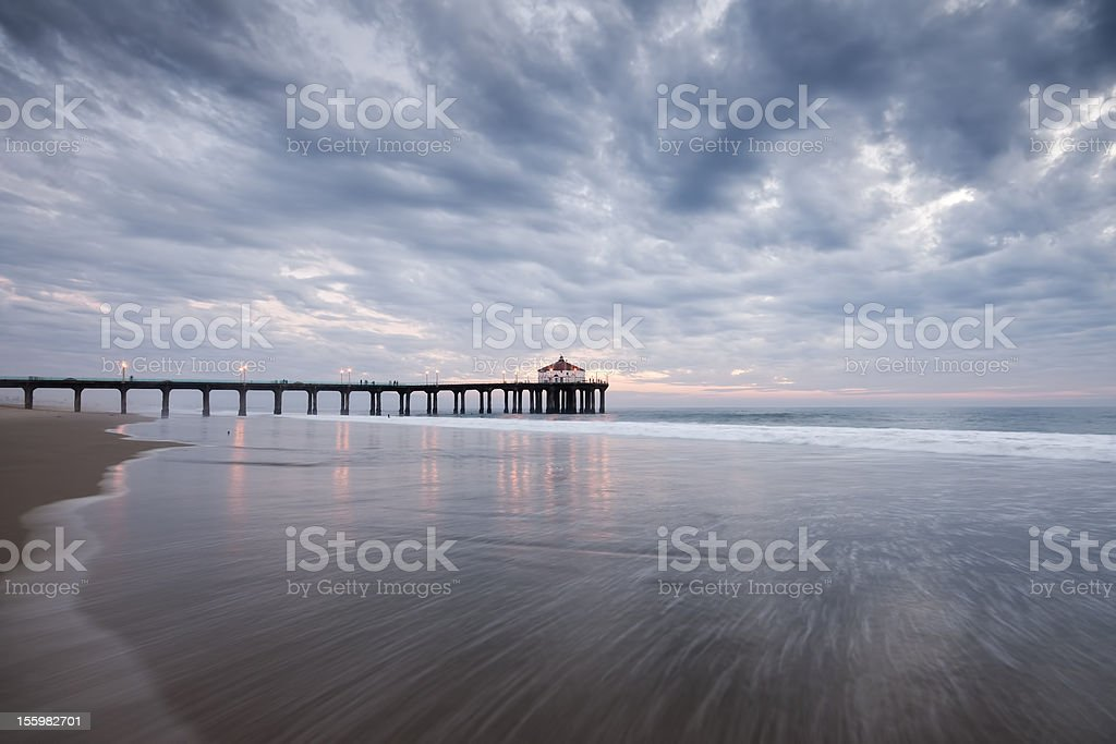 Manhattan Beach Pier Wide Angle Storm royalty-free stock photo
