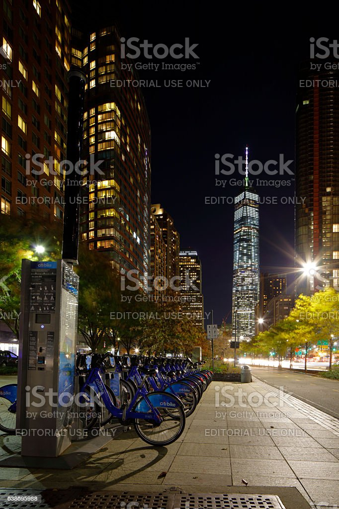 Manhattan bike rental station stock photo