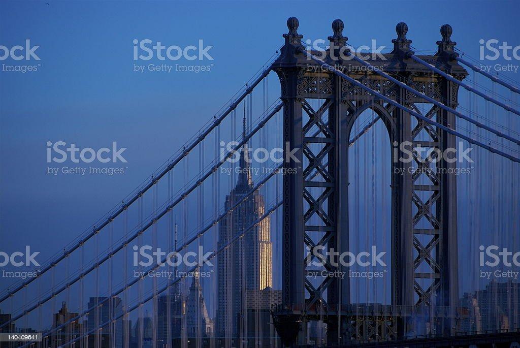 Manhattan Bridge and Empire State Building royalty-free stock photo