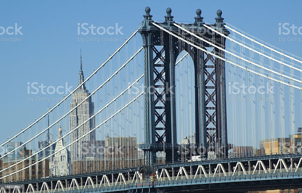 Manhattan Bridge and Empire State Building royalty-free stock photo