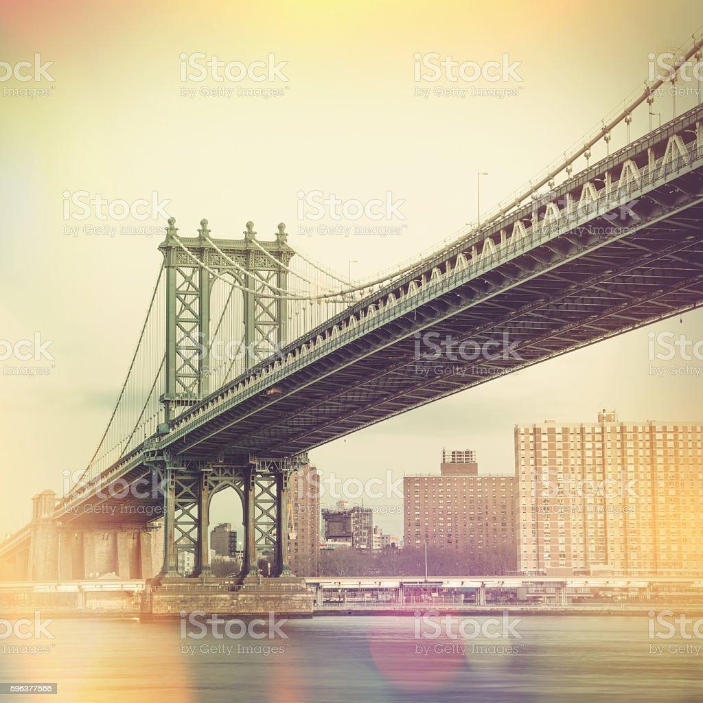 Manhattan Bridge and New York City - vintage style stock photo