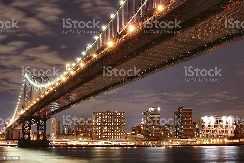Manhattan Bridge and skyline royalty-free stock photo