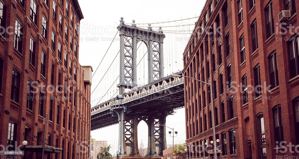 Manhattan Bridge as seen from Brooklyn in New York City stock photo