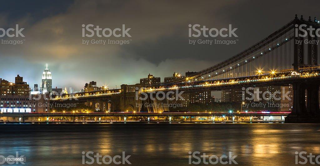 Manhattan Bridge at Night, New York City, USA royalty-free stock photo