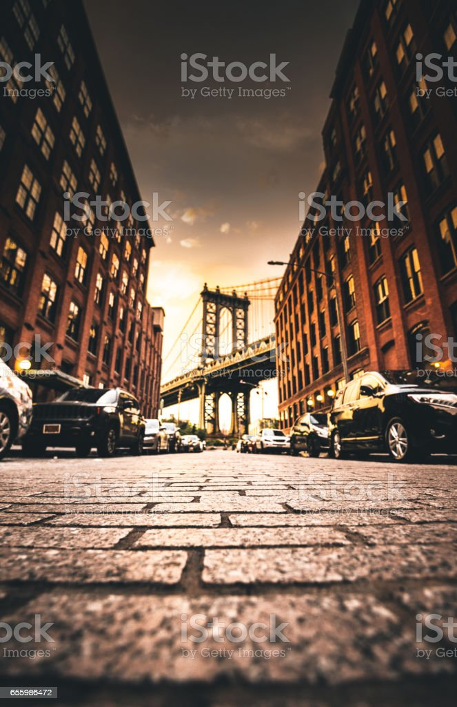 manhattan bridge in dumbo stock photo