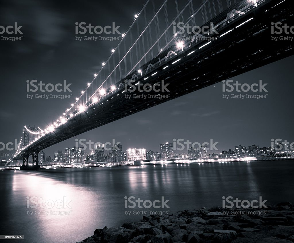 Manhattan Bridge in the Evening stock photo