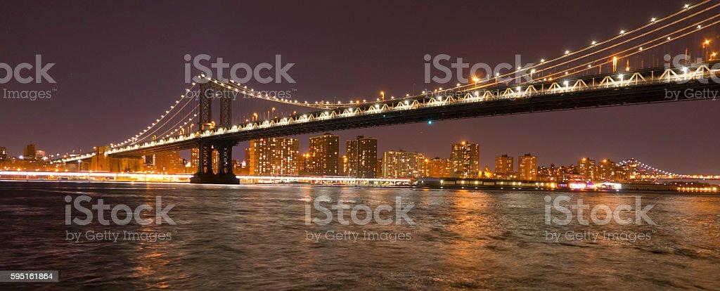 Manhattan Bridge New York at night Lizenzfreies stock-foto