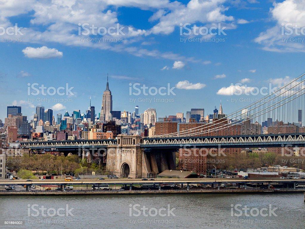 Manhattan Bridge, New York. stock photo