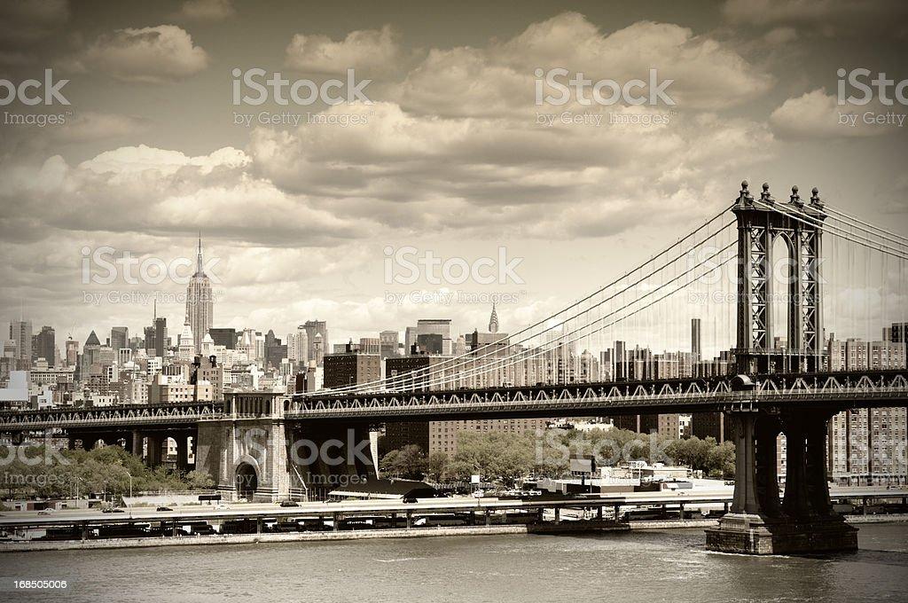 Manhattan Bridge, NYC. Vintage Style royalty-free stock photo