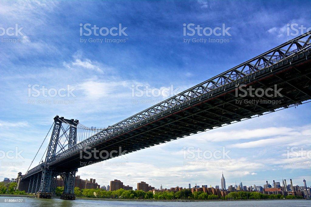 Manhattan Bridge over East River, Midtown Cityscape, New York City stock photo