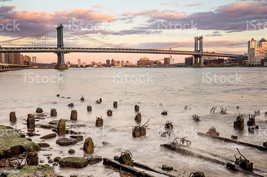 Manhattan bridge over East river, New York stock photo