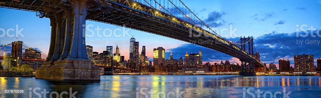 Manhattan Bridge panorama stock photo