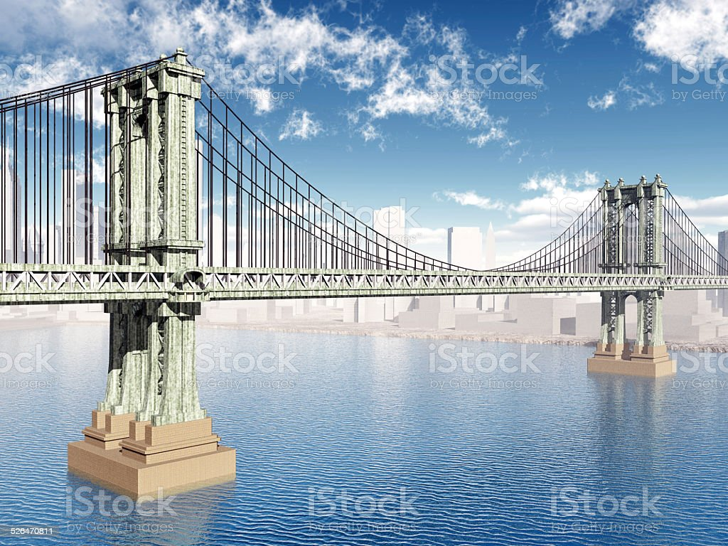 Manhattan Bridge vector art illustration