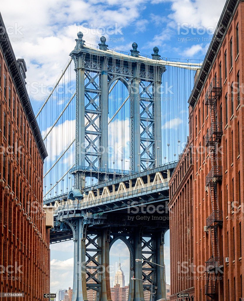 Manhattan Bridge seen from Brooklyn Backstreet stock photo