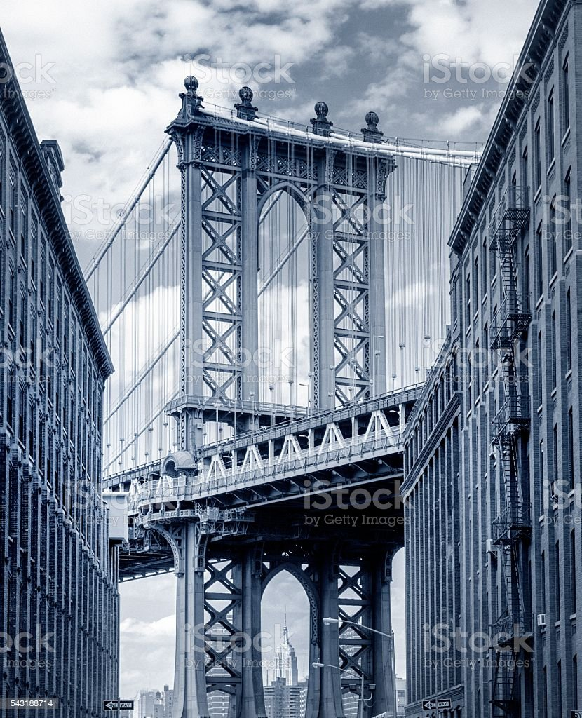 Manhattan Bridge seen from Brooklyn Backstreet stock photo