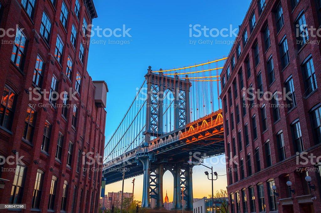 Manhattan Bridge seen from Brooklyn stock photo