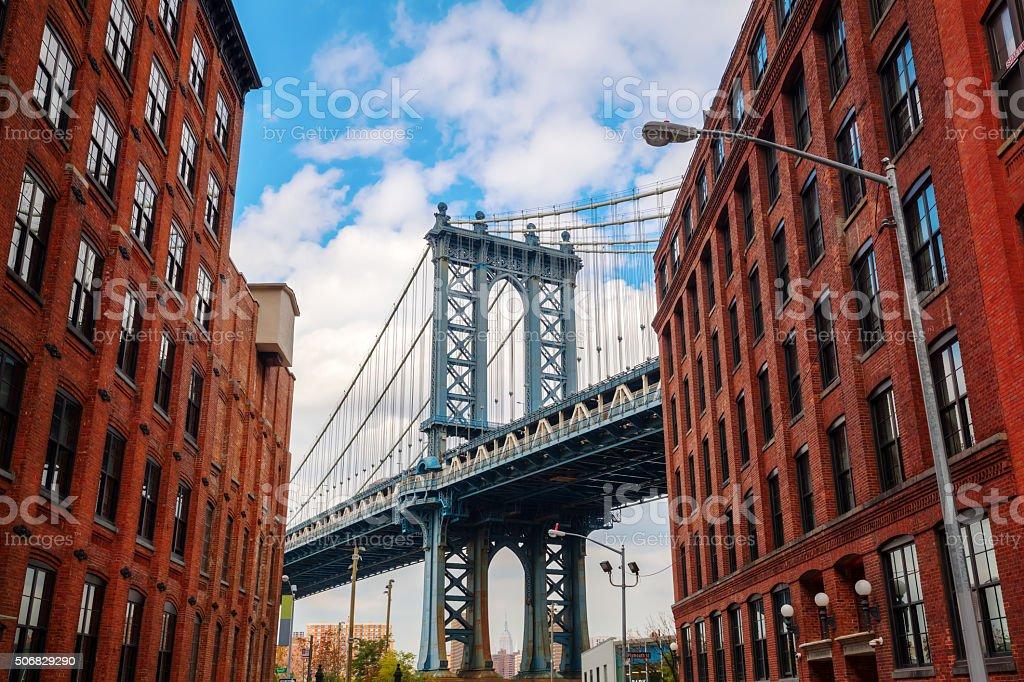 Manhattan Bridge seen from Dumbo, Brooklyn, New York City stock photo