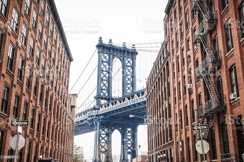 Manhattan Bridge shot from Dumbo stock photo