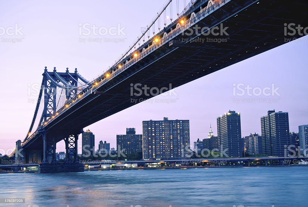 Manhattan Bridge spanning East River in New York City royalty-free stock photo