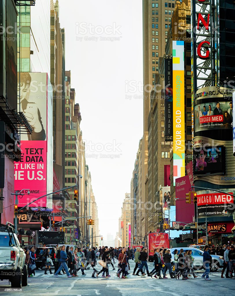 Manhattan Broadway street near Times Square sunny Autumn afternoon stock photo