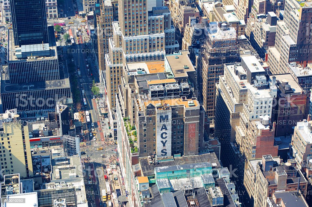 Manhattan Buildings Tops and Macys stock photo