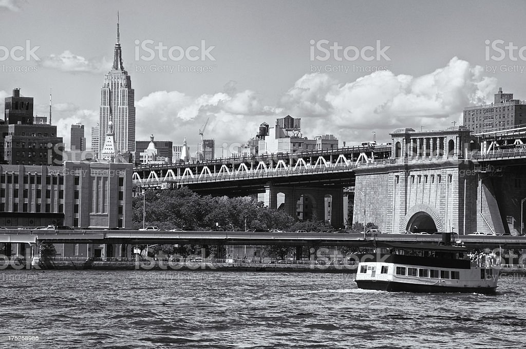 Manhattan Cityscape & Ferry Boat, East River, New York City royalty-free stock photo