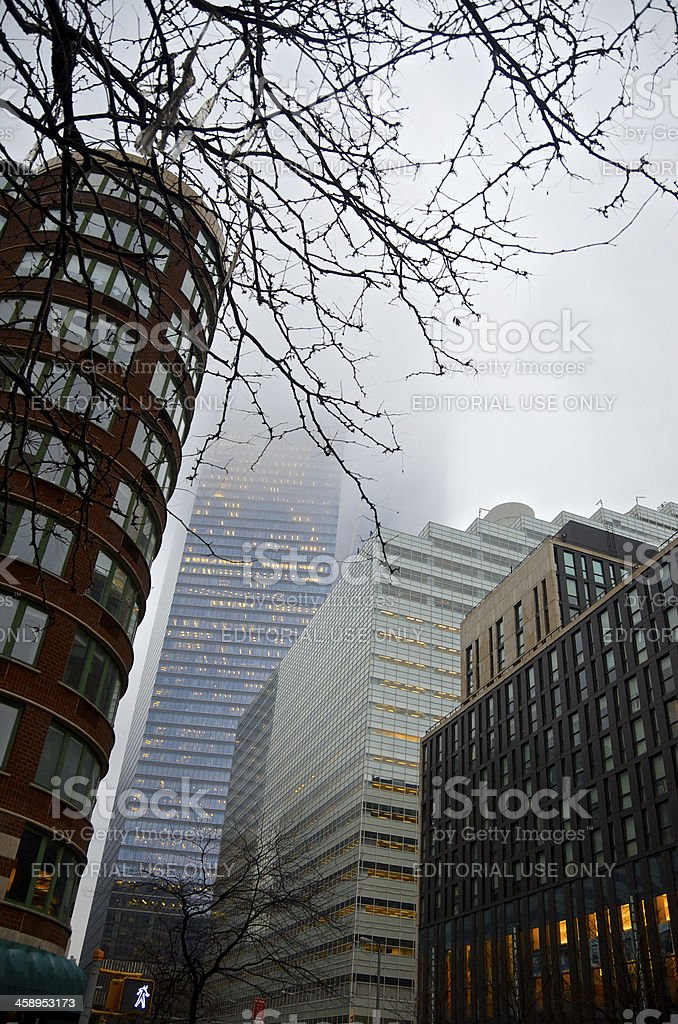 Manhattan Cityscape in fog, World Trade Center buildings, Tribeca, NYC royalty-free stock photo