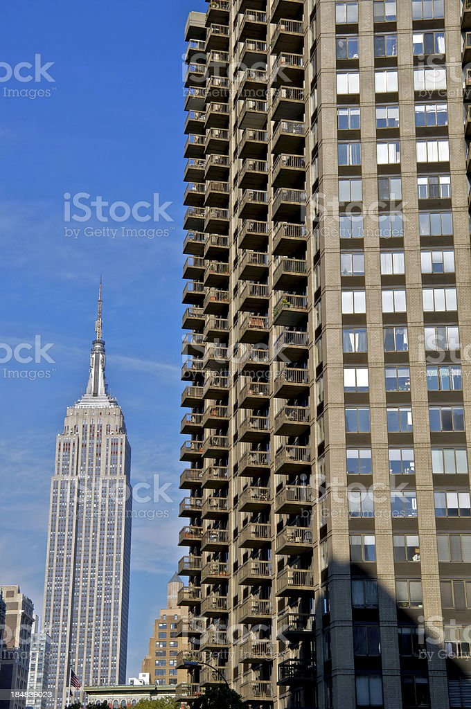 Manhattan cityscape view with Empire State Building, NYC stock photo