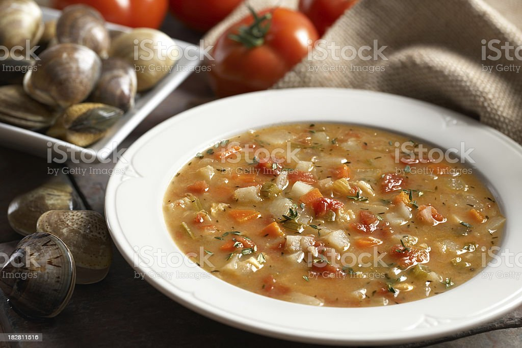 Manhattan Clam Chowder Soup stock photo