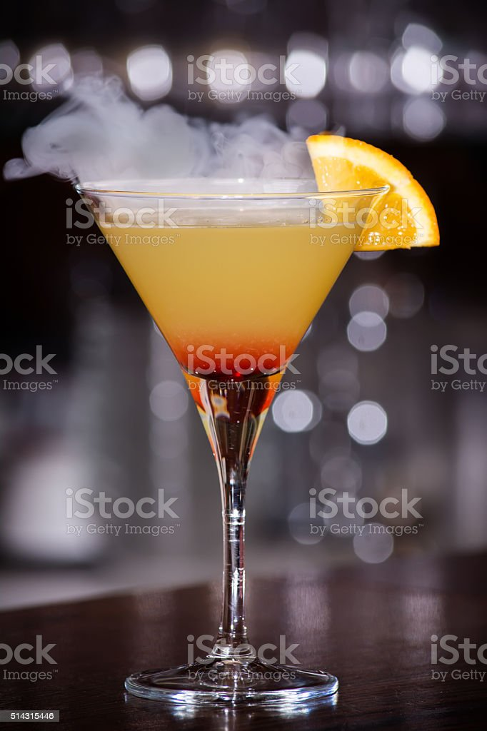 Manhattan cocktail with smoke stock photo