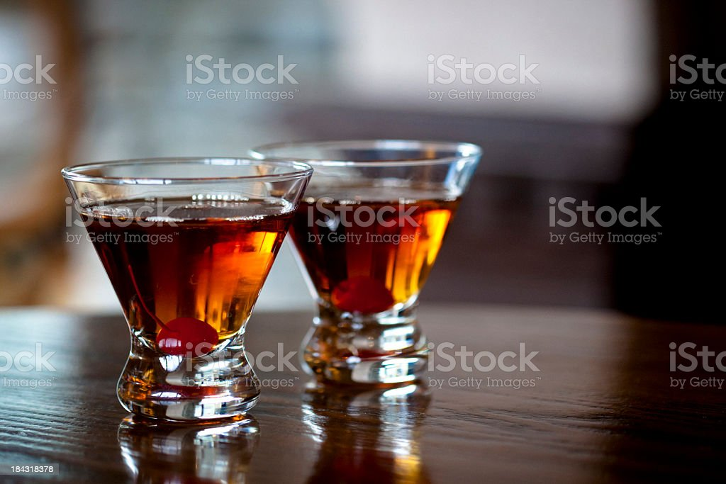 Manhattan cocktails stock photo