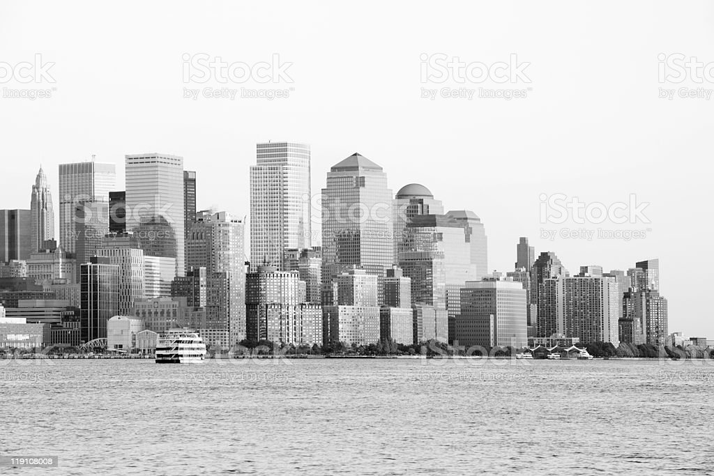 Manhattan Downtown in black and white royalty-free stock photo