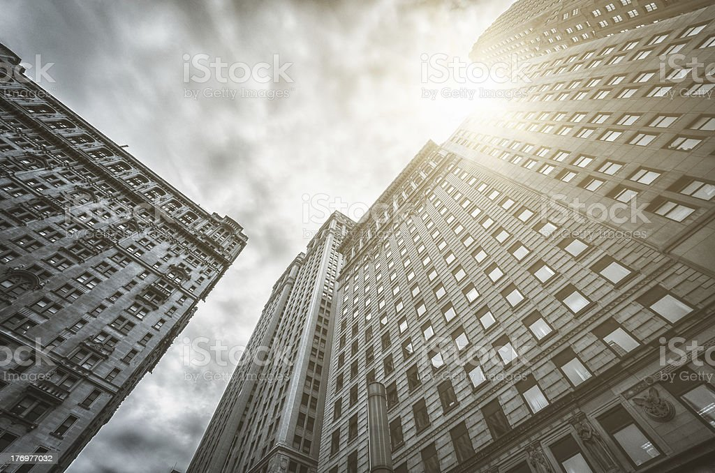 Manhattan facade of building in the downtown royalty-free stock photo