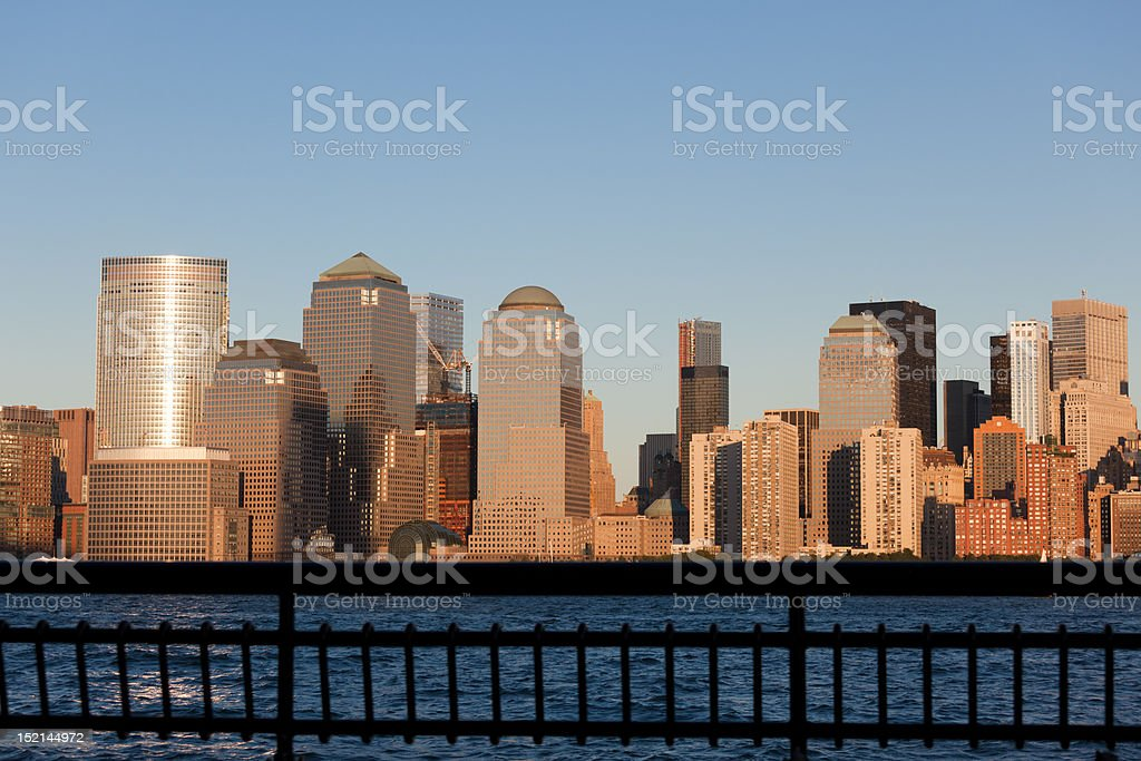 Manhattan Financial District at sunset panorama from Jersey city stock photo