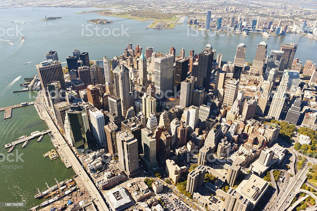 manhattan financial district from above stock photo