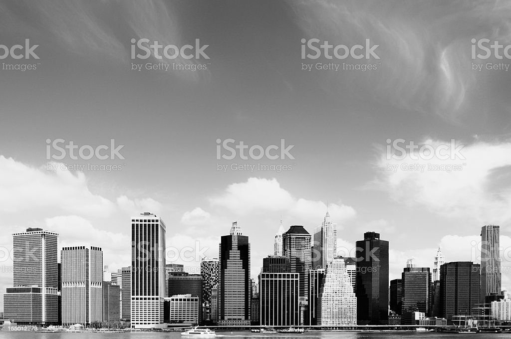 Manhattan Financial District,NYC.Black And White royalty-free stock photo