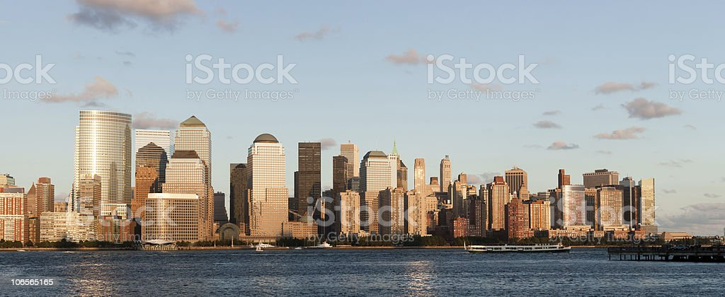 Manhattan Finantial District at sunset panorama from Jersey city stock photo