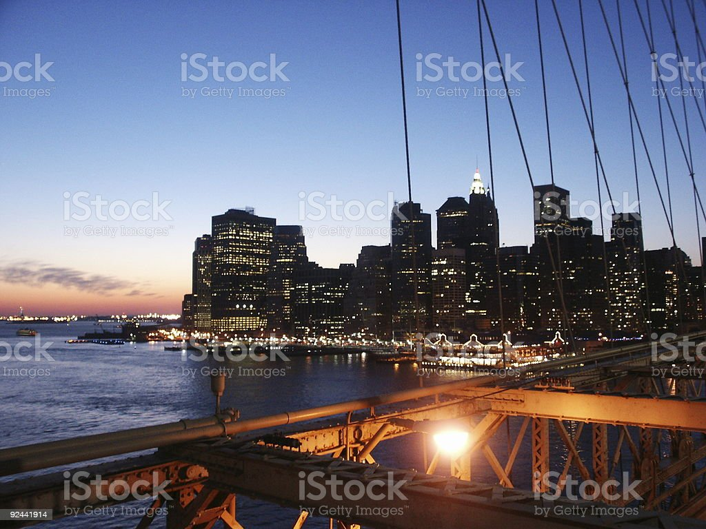 Manhattan from Brooklin bridge royalty-free stock photo