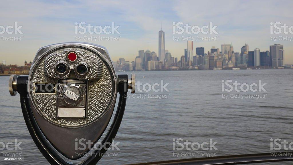 Manhattan from Liberty island, Binocular, New York, USA stock photo