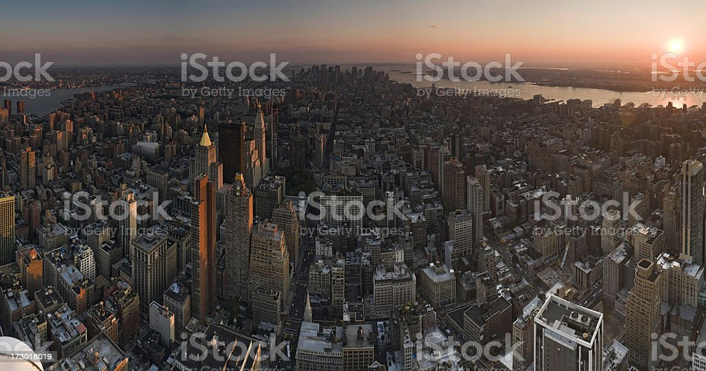 Manhattan golden sunset royalty-free stock photo