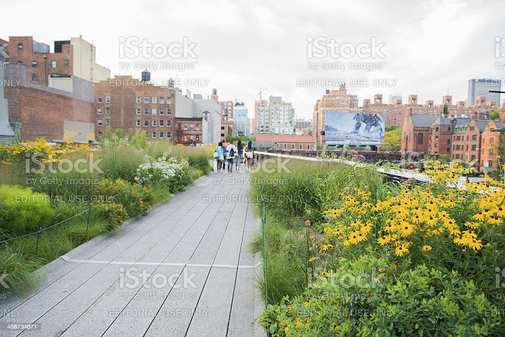 Manhattan High Line Park Walkway Scenic NYC View stock photo