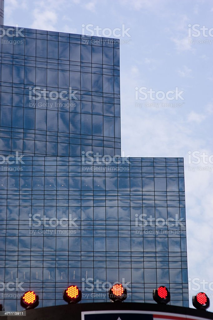 Manhattan in reflections: modern USA architecture; glasse's skyscrappers royalty-free stock photo