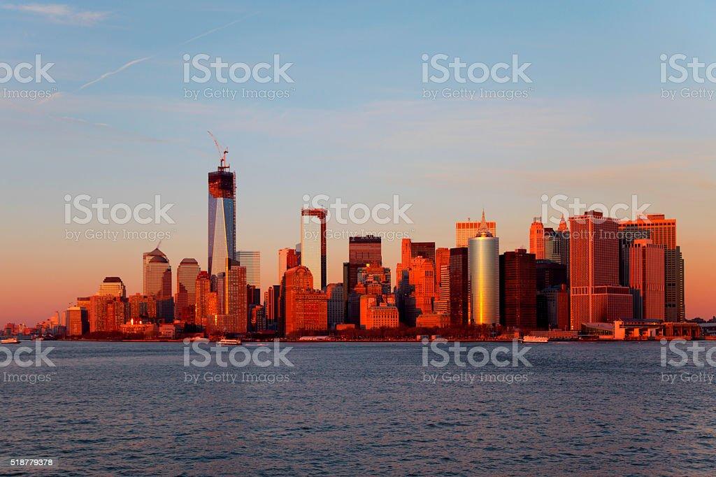 Manhattan in sunset stock photo