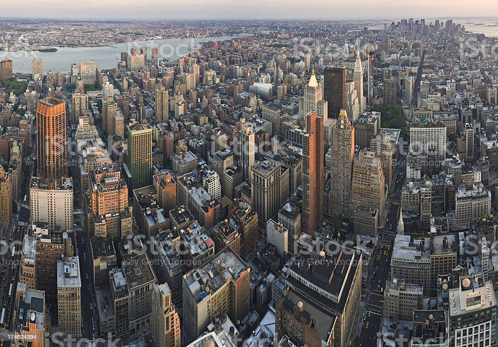Manhattan island aerial metropolis royalty-free stock photo