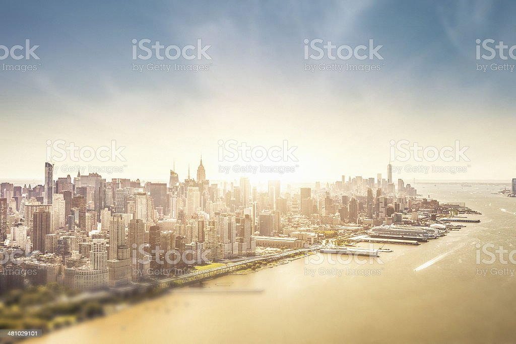 Manhattan Island aerial view stock photo