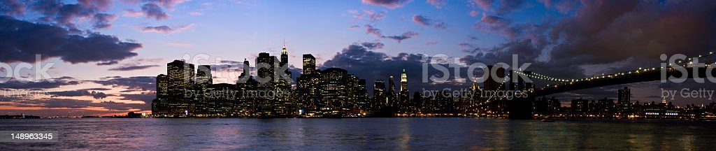 Manhattan lights panorama royalty-free stock photo