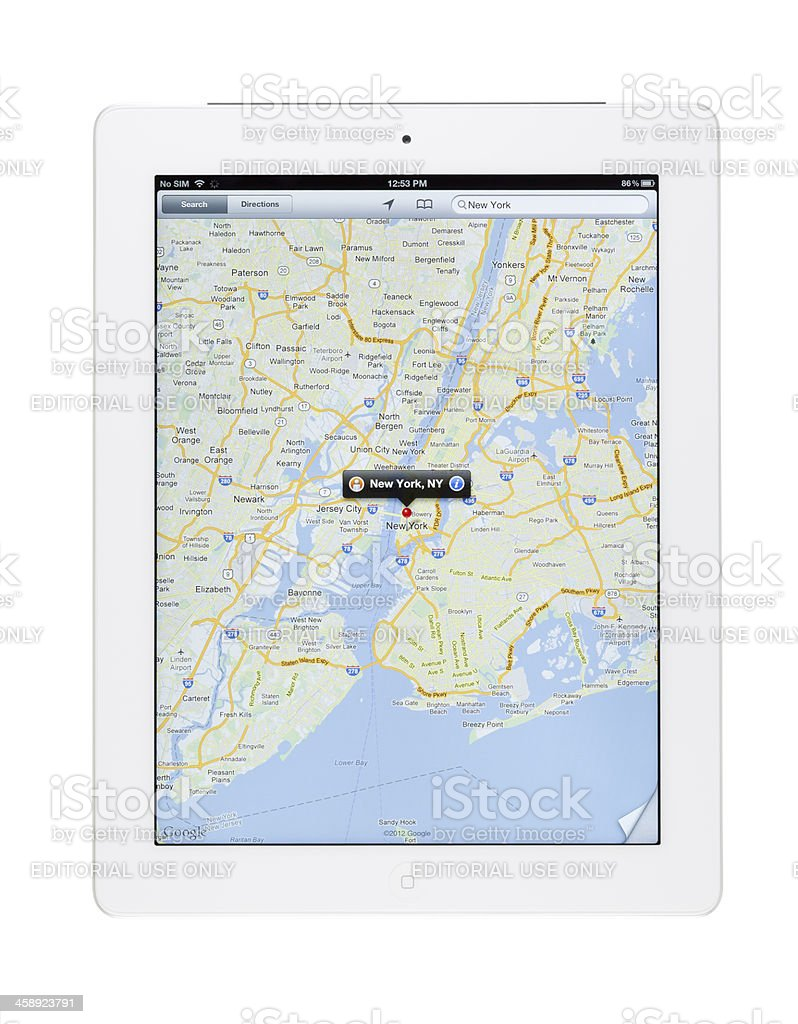 Manhattan Map on Ipad3 royalty-free stock photo